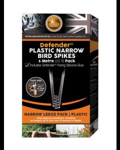 Defender® 6 meter plast fuglepigge inkl. lim