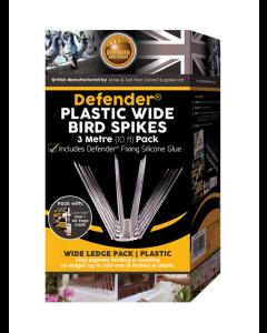 Defender® 3 meter plast fuglepigge inkl. lim