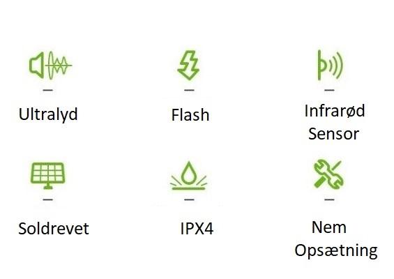 Dyreskræmmer med PIR-sensor & ultralyd - Skadedyrshop.dk - 2020